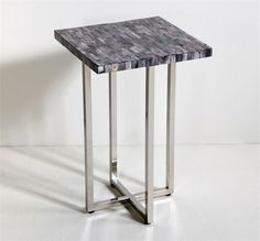 Interlude Olivia Side Table. The contrast between gray bone and polished metal means the Olivia Side Table is simply stunning. – Modish Store