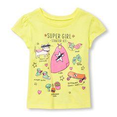 Toddler Girls Short Sleeve 'Super Girl Starter Kit' Graphic Tee