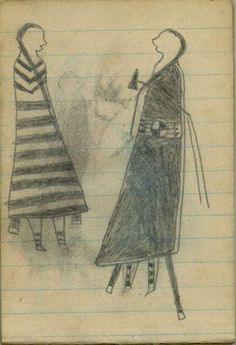 Plains Indian Ledger Art: Wild Hog Ledger-Schøyen - COURTING: Man, with a Tomahawk, in Blanket with Beaded Strip Faces Woman in First-Phase Navajo Chief's Blanket