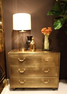 A true showstopper that can easily add drama to a bedroom, entry or living room. Our metal clad chest is finished in a patinated brass finish that is had applied and hand trimmed with nailheads. Metallic Painted Furniture, Gold Furniture, Shabby Chic Furniture, Furniture Makeover, Furniture Stores, Furniture Design, Design Your Own Home, Gold Bedroom, Mirror Bedroom