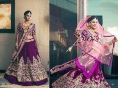 Purple Indian Clothes, Indian Dresses, Indian Outfits, Bridal Lehngas, Bollywood Lehenga, Punjabi Bride, Indian Couture, Pink Outfits, Wedding Outfits