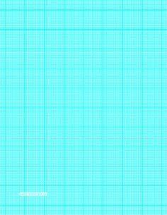 This letter-sized graph paper has twenty-two aqua blue lines every inch plus heavy index lines every inch. Free to download and print