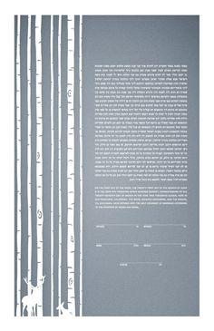 Papercut Ketubah - Birch Trees and Deer. $465.00, via Etsy.
