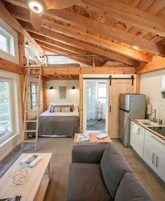 Tiny Houses For Rent, Tiny House Loft, Modern Tiny House, Tiny House Living, Tiny House Plans, Small House Design, Living Room, Tiny Loft, Small Wooden House