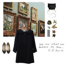 Art gallery by ladybugfromforestofdean on Polyvore featuring polyvore, fashion, style, Jimmy Choo, Mimi Berry, Andrea Garland, Mark's Tokyo Edge, clothing, simple, black, art, gallery and museum