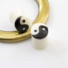 Pair of Organic Horn Bone with Yin Yang Symbol Design Plugs Organic Plugs, Symbol Design, Yin Yang, Surface, Smooth, Medical, Easy, Top, Medicine