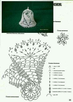 Witam:) To co wczoraj zobaczyłam na swojej tablicy na FB S - SalvabraniCrochet Patterns Christmas Photo only. No pattern - Salvabrani - SalvabraniAnges au crochet Plus - SalvabraniCrochet Bell About tall with threadLearning to knit crochet bells on Crochet Snowflake Pattern, Christmas Crochet Patterns, Holiday Crochet, Crochet Snowflakes, Doily Patterns, Crochet Diagram, Crochet Chart, Thread Crochet, Crochet Motif