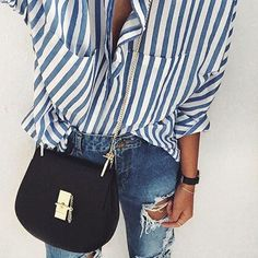 Pinterest: eighthhorcruxx. Stripy blue and white shirt. @andwhatelse