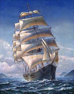 Sailing The WR Grace Canvas Art Print by John Stephens - Schiff Stürmische See, Bateau Pirate, Old Sailing Ships, Ship Drawing, Ship Paintings, Boat Art, Boat Painting, Wooden Ship, Nautical Art