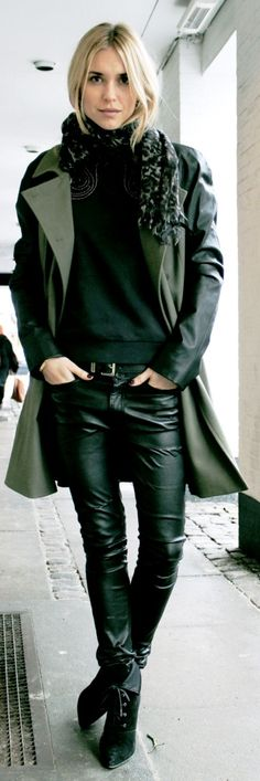 leather coat pants with boots
