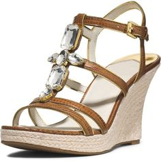 MICHAEL Michael Kors Jayden Jeweled Wedge Sandal ($71) ❤ liked on Polyvore featuring shoes, sandals, wedges, heels, zapatos, barley, jeweled sandals, leather strappy sandals, wedge heel sandals and t strap shoes