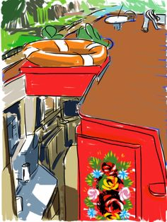 Craig Longmuir, 'Canal Boat on the Llangollen Canal', ipad drawing from observation. Canal Boat Interior, Sketchbook Pro, Floating House, Ipad Art, Digital Art, Disney Characters, Drawings, Painting, Homes