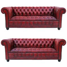 Pair of Leather Chesterfield Sofas 9800
