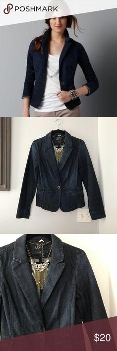 LOFT Dark Denim Blazer Perfect condition, thick denim. True to size.  Thx @SpicySequin 🌶 LOFT Jackets & Coats Blazers
