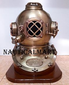 """Welcome Scuba 18"""" Diving Helmet Antique U.S Navy Mark V Vintage Divers Helmet Replica with Base, These models and the replica of Navy divers helmet It is in good condition New Beautiful Antique Look. A Heavy Solid Piece. We Used Coating Process to Make it Look Like 100% Genuine Product.... more details available at https://perfect-gifts.bestselleroutlets.com/gifts-for-holidays/water-sports-items/product-review-for-scuba-18-diving-helmet-antique-u-s-navy-mark-v-vintage-di"""