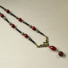 Victorian Dark Red Y Necklace by PaisleyBeading on Etsy