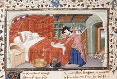 Birth of a monstrous child | Historia de proelis in a French translation (Le Livre et le vraye hystoire du bon roy Alixandre) | France, Central (Paris) | c. 1420