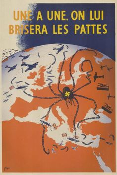 Propaganda maps often depicted world leaders as spiders.