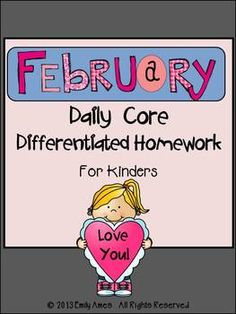 February Daily Core Differentiate Homework for Kindergarten Patterns, adding, counting, initial sound, end sound, CVC words... Patterning Kindergarten, Kindergarten Homework, Kindergarten Activities, Teacher Hacks, Teacher Stuff, Initial Sounds, Cvc Words, Differentiation, Learning Resources
