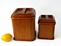 Mid Century Teak Canisters - Set of 2 by Kalmar Designs - RARE Tambour Style Wood Storage Containers - Danish Modern Kitchen by GSaleHunter on Etsy
