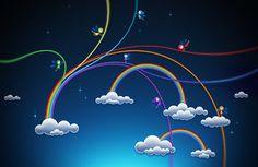 arco-íris colorido, sonhador, fantasia, pequenas fadas, nuvens, estrelas, mundo azul papéis de parede