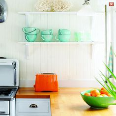 counters, shelves, dishes