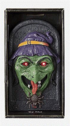Animated Witch Doorbell Halloween Haunted House Lights Talks Prop 7.75 in…