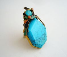 Vega Maddux Enamel Turquoise Coral Gold Ring | From a unique collection of vintage cocktail rings at https://www.1stdibs.com/jewelry/rings/cocktail-rings/