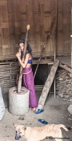 Mros (Mrus or Moorangs) girl grinding wheat using primitive mortar and pestle, Menron Para Village, Bandarban district, Chittagong Hill Tracts, Bangladesh, Indian Sub-Continent,