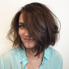 Messy Brown Bob For Fine Hair