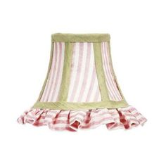 Ruffled Chandelier Shade with Pink and White Stripe