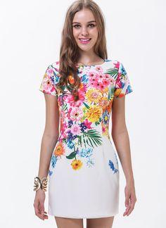 White Short Sleeve Florals Print Dress