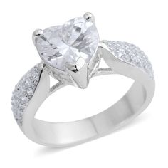 WHITE SIMULATED VS DIAMOND HEART SOLITAIRE WITH ACCENTS TRAVEL ENGAGEMENT RING  #L2D #SolitairewithAccents