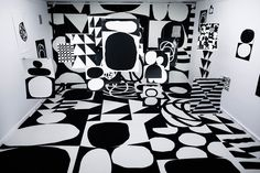 An exhibition by Emil Kozak with black and white ink drawings and serigraphs that are layered within the space creating a graphically appealing mindfuck.