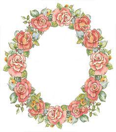 digital vintage rose frame; free download