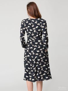 BLACKFRIDAY offer is not valid on this item.  This dress is inspired by '30s silhouettes. It is cut from floral crep.   Navi, milk and brown crepe  Button fastenings through front  Pockets  Dry clean  Fabric made in Italy     Composition: 100%viscose.  Care:dry clean, iron on a medium heat.    The length:111\\43,7cm\\inch  The length of the sleeve:64,5\\25,39cm\\inch  ...