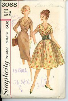 1950S Women evening dress | 1950s Dress Pattern Shawl Collar Full or Slim Skirt Day or Evening ...