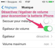L'égaliseur de volume sur iPhone n'est pas une fonction très utile. Elle permet à tous vos morceaux de musique d'avoir le même volume sonore.  En plus de cela, elle consomme beaucoup d'énergie.  Découvrez l'astuce ici : http://www.comment-economiser.fr/batterie-iphone-diminuer-la-luminosite.html