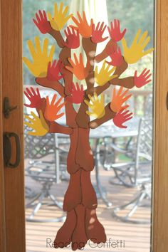 Can do all green hands for the summer/spring and add small tissue paper balls for flower buds. [A handprint and footprint tree is a fun way for the family to create a fall bucket list. Fall Arts And Crafts, Autumn Crafts, Fall Crafts For Kids, Autumn Art, Thanksgiving Crafts, Autumn Theme, Holiday Crafts, Fall Preschool, Preschool Crafts