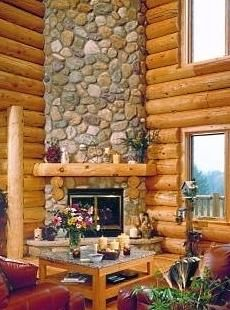 River rock fireplace i kind of like the big rocks for the dining love the fireplace angle solutioingenieria Choice Image