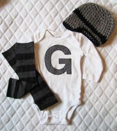 Cute initial onesie and accessories