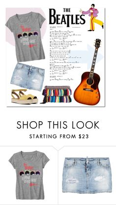 """Beatles"" by hellodollface ❤ liked on Polyvore featuring Dsquared2, Christophe Sauvat, bandtshirt and bandtee"
