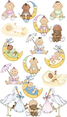 Babies 2 Double Clipart Collection Clipart Baby, Baby Shower Clipart, Scrapbook Bebe, Scrapbook Storage, Album Baby, Moldes Para Baby Shower, Pregnancy Scrapbook, Baby Barn, Baby Boy Themes