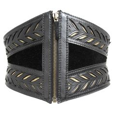 Black and Gold Tooled Leather Waspie by Cristiane Tano