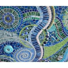 Beach Wedding Mosaic Art Panel by RedCrowArts on Etsy Mosaic Wall Art, Mosaic Glass, Mosaic Tiles, Stained Glass, Glass Art, Blue Mosaic, Clay Tiles, Tile Art, Gaudi