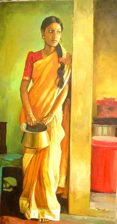 Tamil women with bronze vessel - Painting by S. Elayaraja (www.elayarajaartgallery.com)