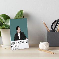 'Vincent Vega - Pulp Fiction' Art Board Print by fictiophilia Watercolor Texture, Watercolor Paper, Mia Wallace, Pulp Fiction Art, Velcro Dots, Fandom Outfits, Sell Your Art, Art Boards, Print Design