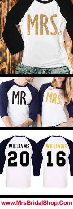 Custom MR & MRS Baseball Tees Set. $64.95 for both shirts. Available in Black or Navy Blue, click here to buy https://mrsbridalshop.com/collections/couples/products/mr-mrs-gold-baseball-tees-custom-names-numbers-pick-color