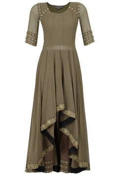 Grey high low flared anarkali set available only at Pernia's Pop-Up Shop.