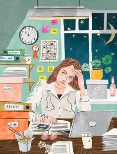 Bodil Jane | Folio illustration agency | https://folioart.co.uk/bodil-jane | #digital #illustration #woman #work #stress